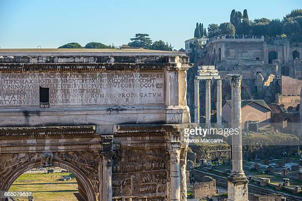 the roman forum - arch of septimus severus stock pictures, royalty-free photos & images