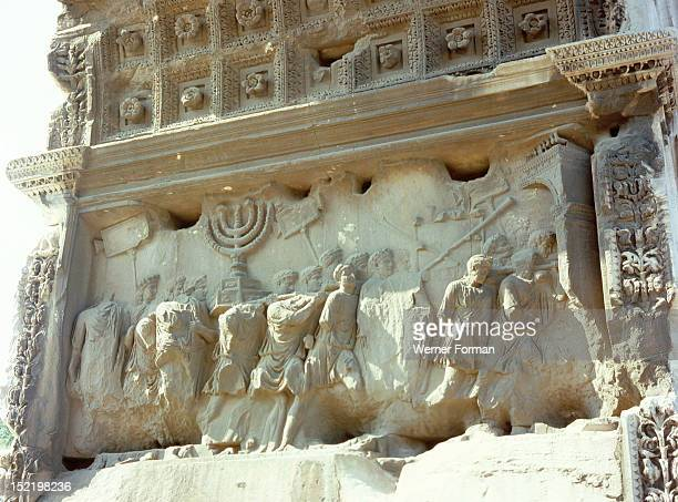 The Roman Forum Relief from the Arch of Titus showing the triumphal procession after the destruction of Jerusalem in AD 70 Spoils from the Second...