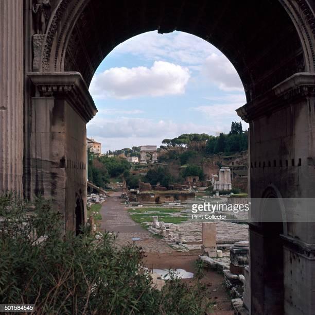 The Roman forum seen through the arch of Septimus Severus 3rd century