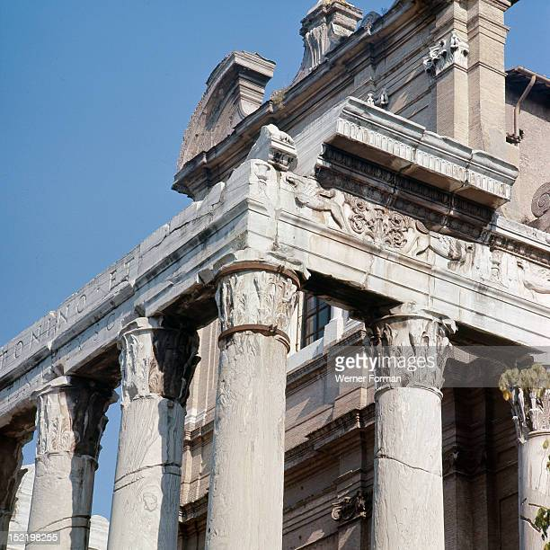 The Roman Forum, Temple of Antoninus and Faustina. Anna Galeria Faustina the Elder was married to emperor Antoninus Pius, who ruled from AD 138-161....