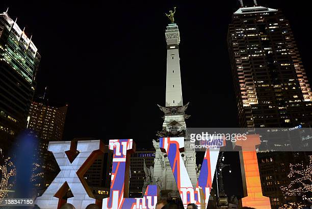 The roman numerals for Super Bowl XLVI are displayed at Monument Circle during the Electronic Arts Inc Sports Madden Bowl XVIII in Indianapolis...