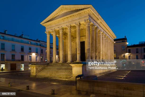 The roman temple named Maison Carree, Nimes, Gard,Languedoc Roussillon, France