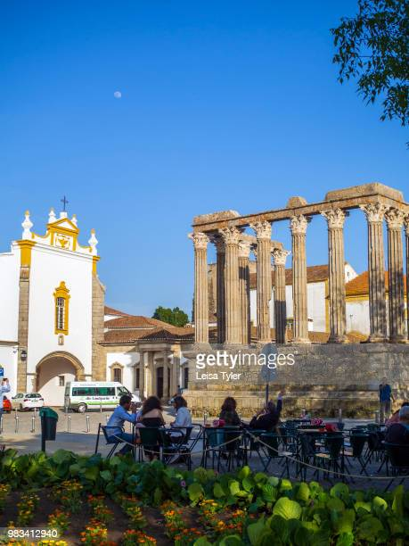 The Roman Temple of Évora also known as the Templo de Diana an ancient Roman era temple in the town of Evora Portugal
