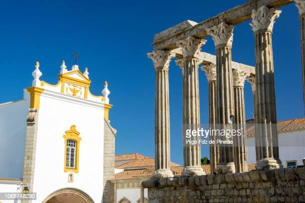 The Roman Temple of Évora, Evora District, Alentejo, Portugal.