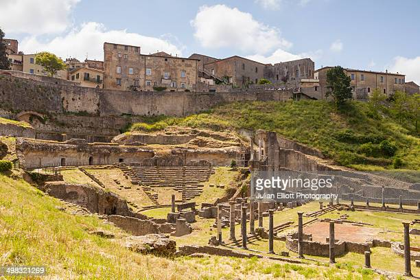 the roman theatre in volterra, tuscany. - volterra stock photos and pictures
