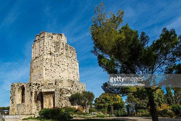 the roman tower magne, park of la fontaine, nimes, gard, france - nimes stock pictures, royalty-free photos & images