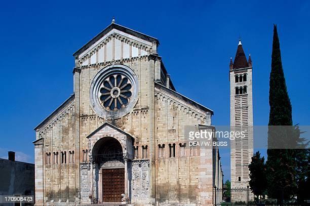 The Romanesque Basilica of St Zeno and bell tower Verona Veneto Italy
