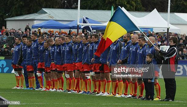 The Romania team sing the national anthem before the IRB 2011 Rugby World Cup Pool B match between Scotland and Romania at Rugby Park Stadium on...