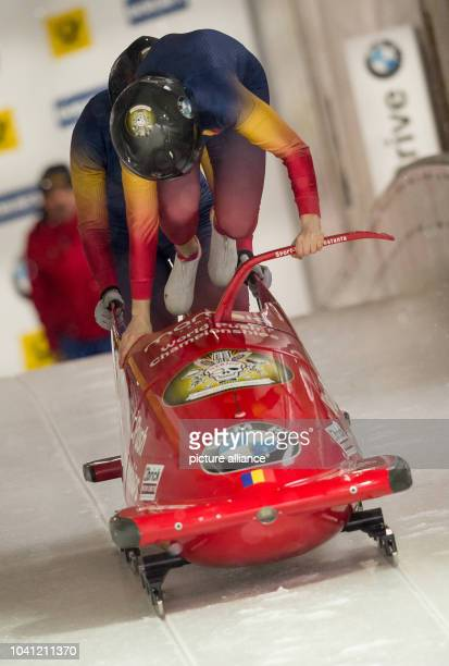 The Romanian bobsleigh team with Maria Adela Constantin and Andreea Grecu in action during the 1st twowomen run of the FIBT World Championship 2017...