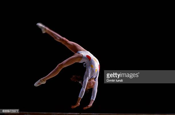 The Romanian gymnast performing a floor exercise at the French International