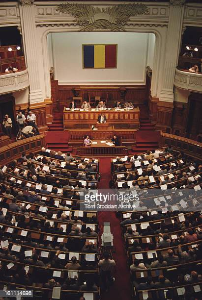 The Romanian Parliament in Bucharest after the Romanian Revolution 1990