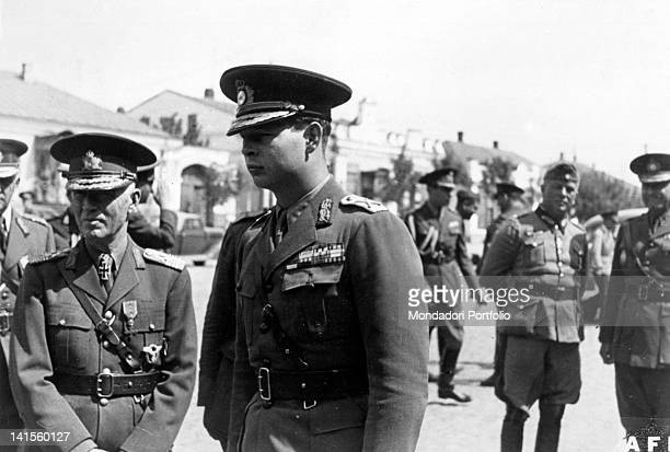 The Romanian prime minister Ion Antonescu King Michael I of Romania and the German General Ewald von Kleist during an inspection Odessa September 1941