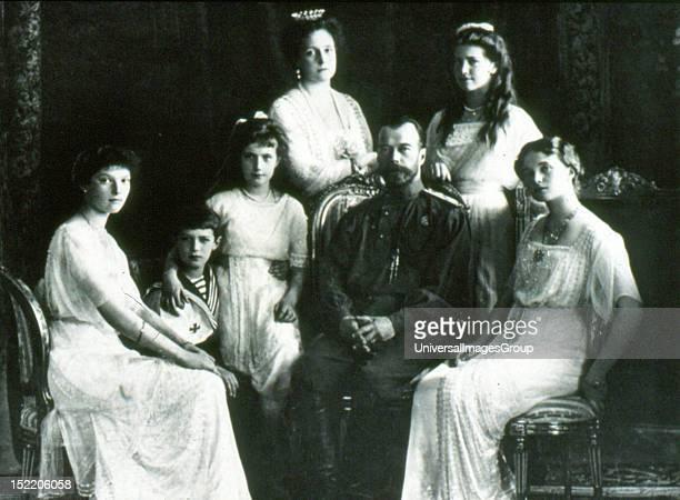 The Romanov Family in year 1913 From right to leftGrand Duchesses Olga Maria Tsar Nicholas II Empress Alexandra GD Anastasia Tsarevich Alexei and GD...