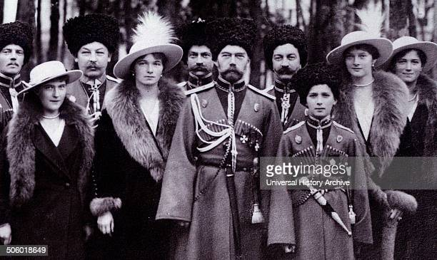 The Romanovs visiting a regiment during World War I From left to right Grand Duchess Anastasia Grand Duchess Olga Tsar Nicholas II Tsarevich Alexei...
