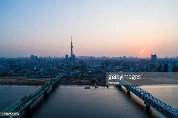 私はドローンとした東京のロマンチックな空。