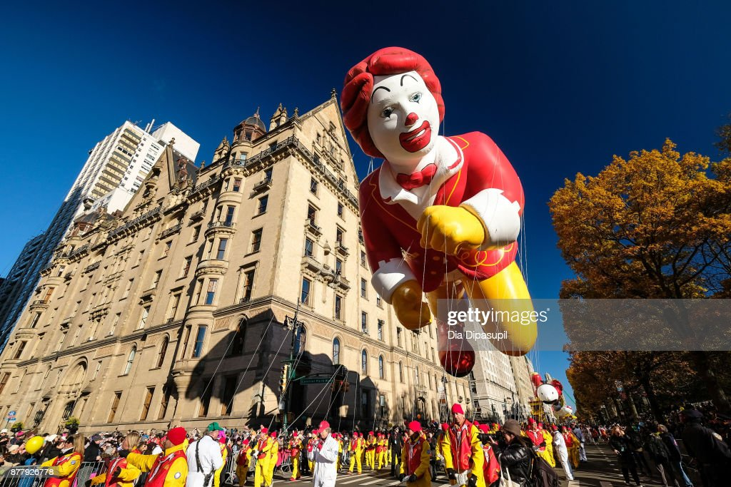 The Ronald McDonald balloon floats down Central Park West during the 91st Annual Macy's Thanksgiving Day Parade on November 23, 2017 in New York City.