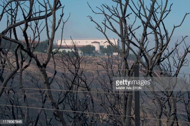 The Ronald Reagan Presidential Library is seen during the Easy Fire in Simi Valley California on October 30 2019 Firefighters in California battled a...