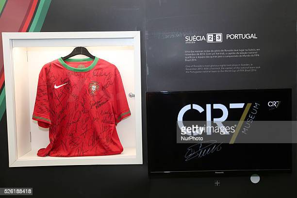 The Ronaldo's path in the Nacional team on display at the Cristiano Ronaldo traveling museum in Lisbon on October 6 2015