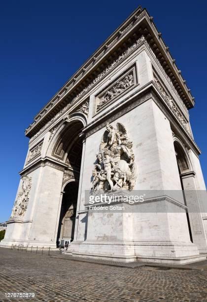 The Rond Point des Champs-Élysées and the Arc de Triomphe in Paris on September 21, 2020 in Paris, France.