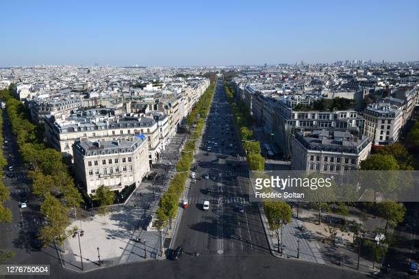 The Rond Point des Champs-Élysées, seen from Arc de Triomphe in Paris on September 21, 2020 in Paris, France.