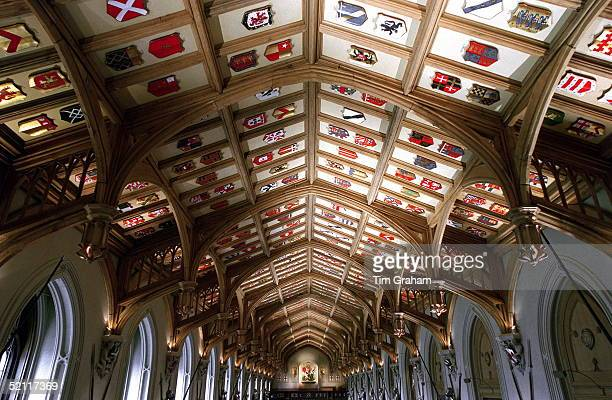The Roof Of St George's Hall With The Shields Restored Completely After The Fire At Windsor Castle