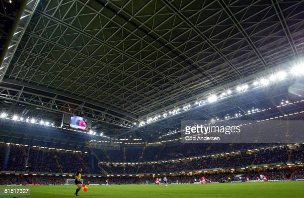 The roof of the Cardiff Millenium stadium is closed as Wales play Argentina in a friendly international soccer match 13 February 2002 Argentina asked...