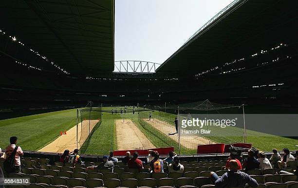 The roof opens during ICC World XI training at Telstra Dome on October 4, 2005 in Melbourne, Australia.