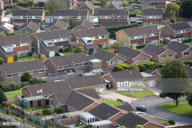 The roof tops of bungalow and houses on the Linksway housing estate, Folkestone, Kent.