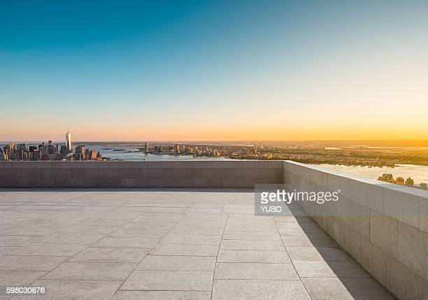 the roof viewing platform - roof stock photos and pictures