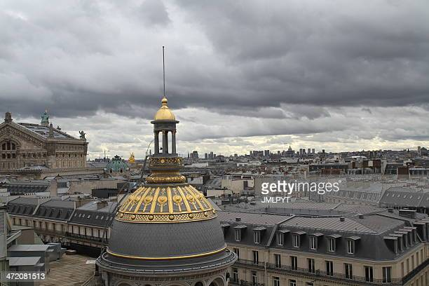 the roofs of paris, garnier opera - galeries lafayette paris stock photos and pictures