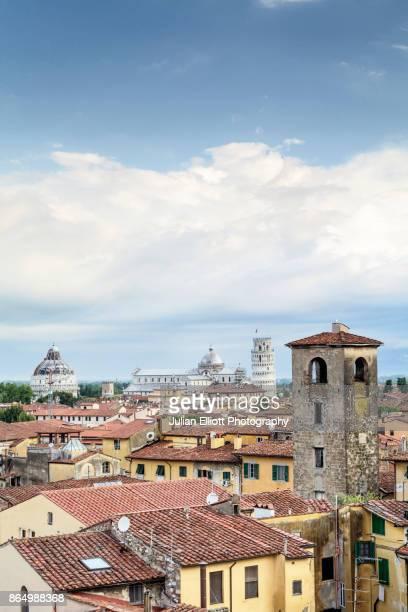 the rooftops of pisa in italy. - pisa stockfoto's en -beelden