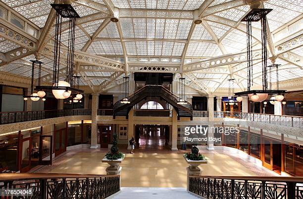 The Rookery Building's central light court and lobby remodeled in1905 by famed architect Frank Lloyd Wright in Chicago Illinois on JULY 19 2013