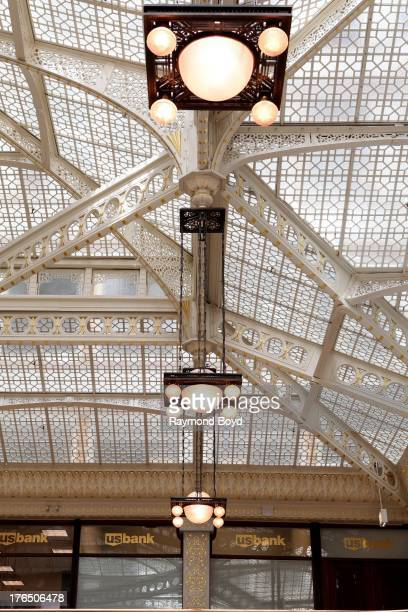 The Rookery Building's central light court and lobby remodeled in1905 by famed architect Frank Lloyd Wright in Chicago Illinois on JULY 24 2013