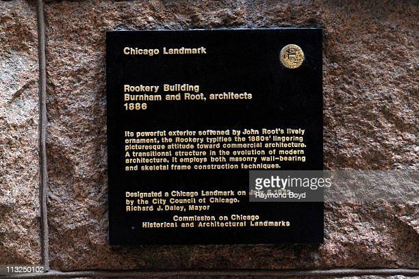 The Rookery Building's Chicago Landmark plaque in Chicago, Illinois on APR 17, 2011.