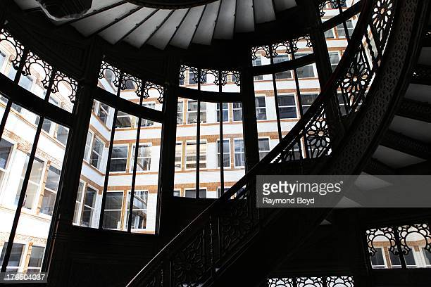The Rookery Building's famed spiral staircase, in Chicago, Illinois on JULY 19, 2013.