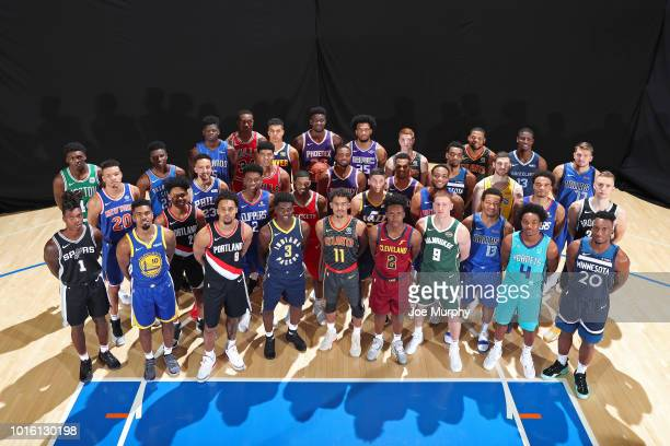 The Rookie Class poses for a group photo during the 2018 NBA Rookie Photo Shoot on August 12 2018 at the Madison Square Garden Training Facility in...