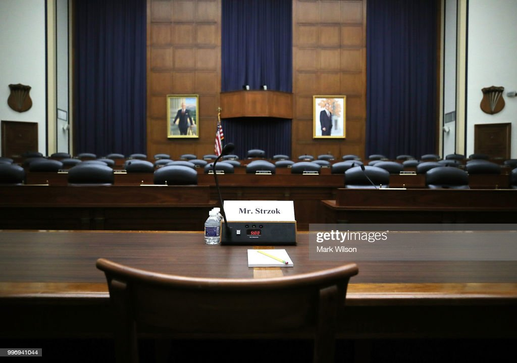 The room is set for today's joint House Judiciary Committee and House Oversight and Government Reform Committee that will be hearing testimony from Deputy Assistant FBI Director Peter Strzok, on Capitol Hill on July 12, 2018 in Washington, DC.