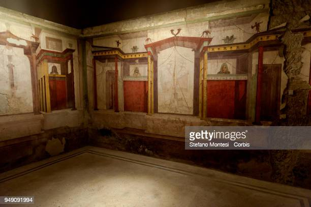 The room of the masks in the house of Augustus on the Palatino Hill in the Ancient Roman Forum on April 20 2018 in Rome Italy Presented to the press...