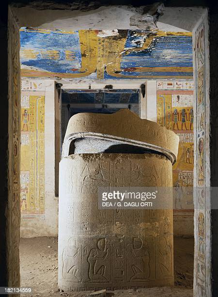 The room of the sarcophagus decorated in relief with scenes of hell on the granite finish Tomb of Ramesses IV also known as Tomb KV2 Valley of the...