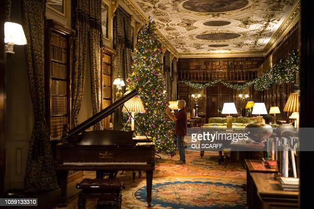 The rooms of Chatsworth House are decorated for their Christmas season as various fairy tale scenes in the theme of 'Once Upon a Time', during a...