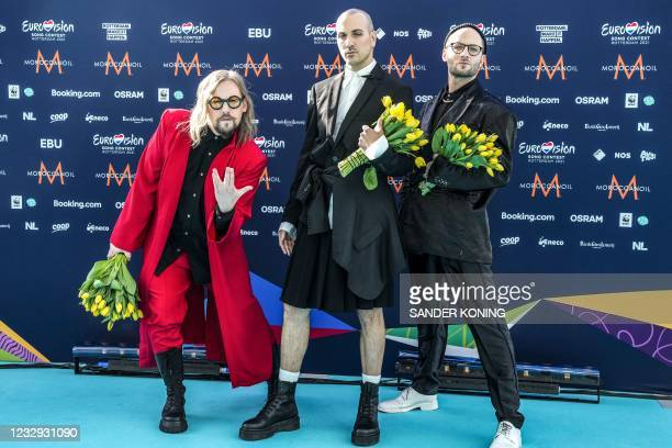 The Roop from Lithuania arrive on the turquoise carpet as The Eurovision Song Contest 2021 officially kicks off at the Cruise Terminal Rotterdam, in...