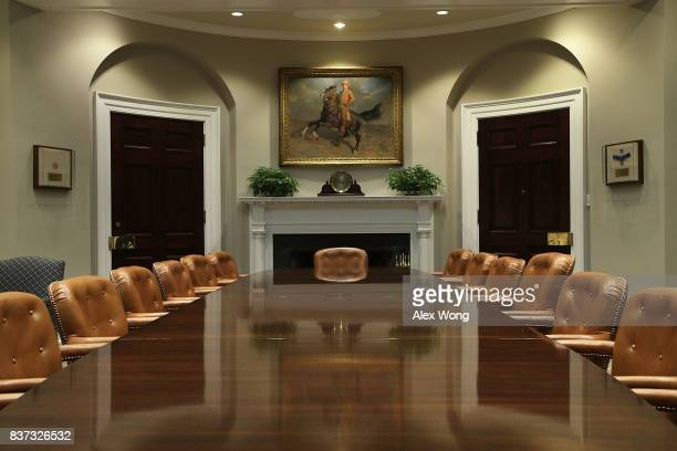 The Roosevelt Room of the White House is seen after renovations August 22 2017 in Washington DC The White House has undergone a major renovation with...