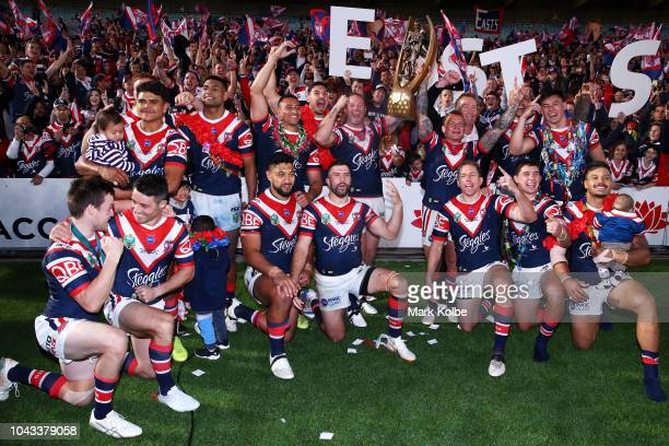 The Rooster team celebrate victory during the 2018 NRL Grand Final match between the Melbourne Storm and the Sydney Roosters at ANZ Stadium on...