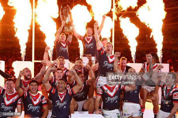 The Roosters celebrate winning the 2018 NRL Grand Final match between the Melbourne Storm and the Sydney Roosters at ANZ Stadium on September 30 2018...
