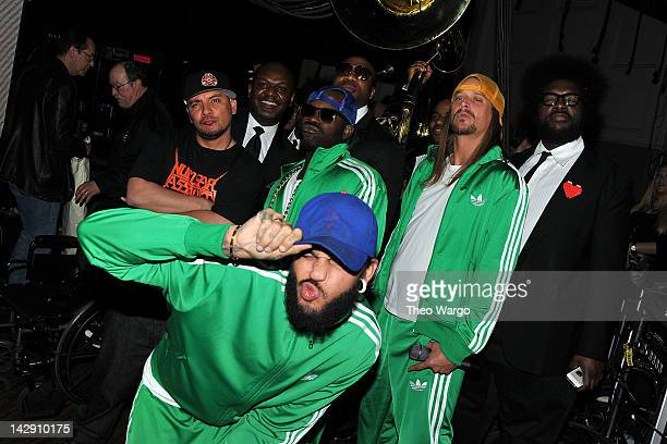 The Roots pose with Travie McCoy and Kid Rock at the 27th Annual Rock And Roll Hall Of Fame Induction Ceremony at Public Hall on April 14, 2012 in...