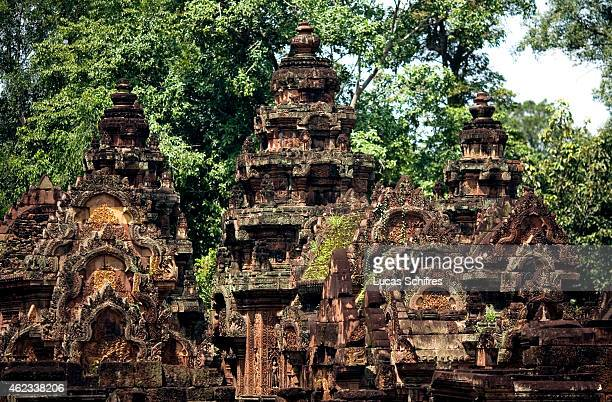 The rooves of Banteay Srei temple stands on October 5 2009 in north of Angkor Cambodia Banteay Srei is a 10th century Cambodian temple built largely...