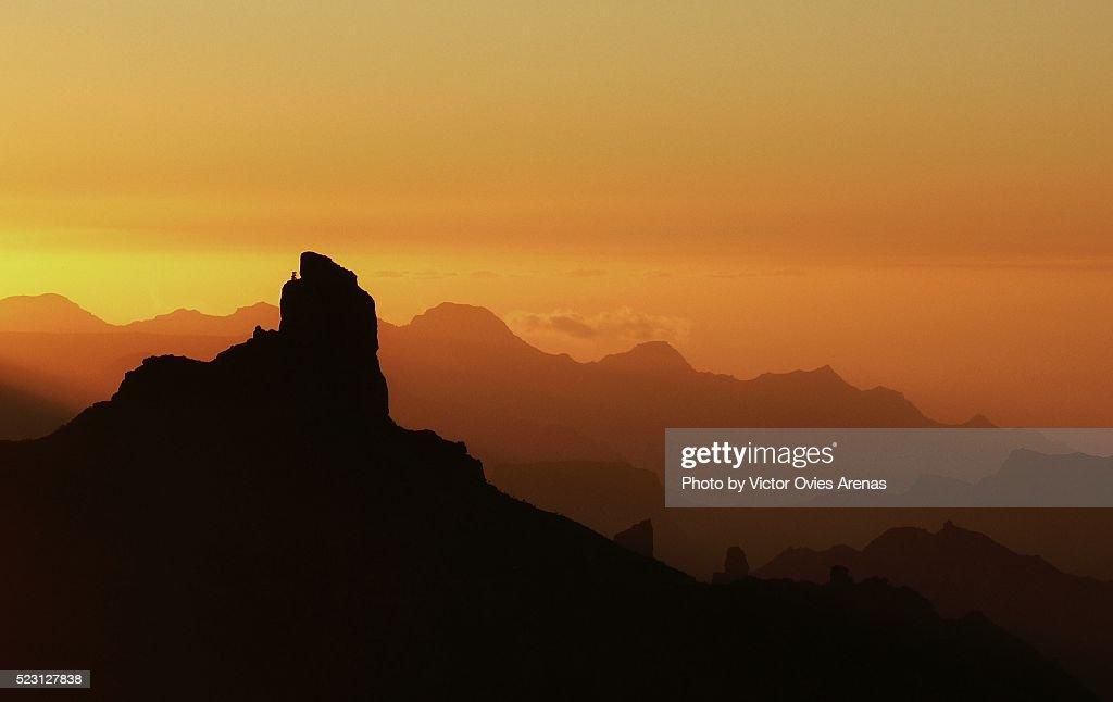 The Roque Bentayga at Sunset II : Stock Photo