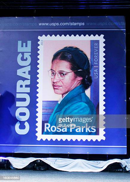 The Rosa Parks commemorative stamp issued by the US Postal Service is unveiled February 4 2013 at The Henry Ford in Dearborn Michigan The stamp went...