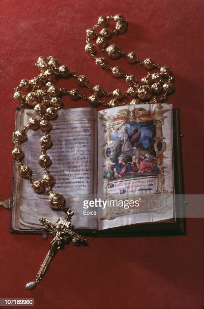 The rosary beads and bible belonging to Mary Queen of Scots on display at Arundel Castle Sussex January 1968