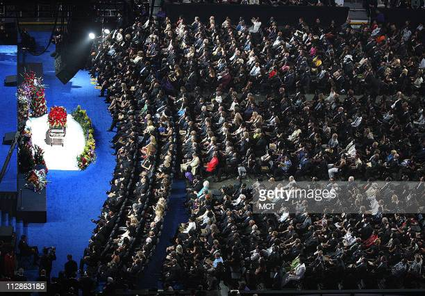 The rose covered coffin holding the remains of Michael Jackson rests in the front of the stage during his memorial service at the Staples Center in...